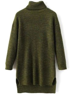 Side Slit Turtleneck Heather Sweater - ARMY GREEN ONE SIZE