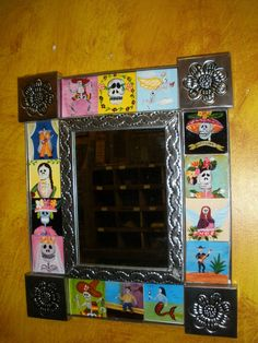 Handmade Tin Mirror #4-Mexican Folk Art-11x13 in-Silver--Day of the Dead