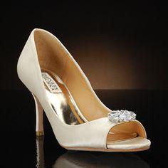 A modest heel, cream wedding shoe by BADGLEY MISCHKA and MY GLASS SLIPPER. Buy the MEGAN style for $225 at MyGlassSlipper.com!    http://www.myglassslipper.com/designer-wedding-shoes/badgely-mischka