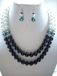 SALE Jet Black Fossil Beads, White and Teal Pearls and Silver Rhinestone Spacer…