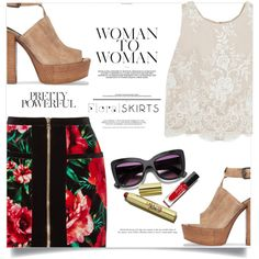 Floral skirts by fantasticbabe on Polyvore featuring Alice + Olivia, Balmain and Rebecca Minkoff