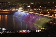 Banpo Bridge Rainbow Fountain- the world's longest bridge fountain in Seoul, Korea