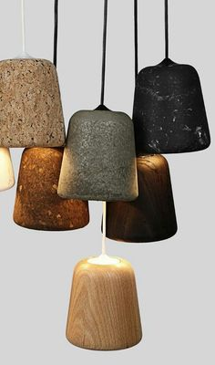 CMF we like / Lamps / Materials / Wood / Corc / Marble / Concrete / at INDSTR