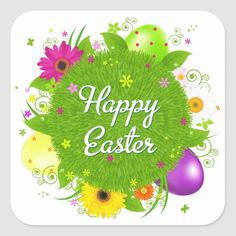 Happy Easter with Flowers and Eggs Make your unique style stick by creating custom stickers for every occasion! From special mailings and scrapbooking to kids' activities and DIY projects, you'll find these stickers are great for so many uses. Add your own designs, patterns, text, and pictures!