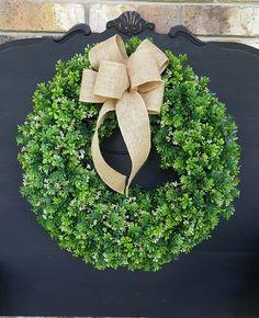 Boxwood Wreath ~ Gift for Her ~ Farmhouse decor ~ Artificial Boxwood Wreath ~ Fixer Upper Decor ~ Everyday Wreath ~ Front Door Wreath by FarmHouseFloraLs on Etsy