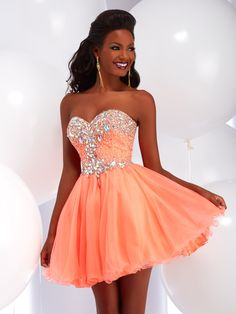 Buy now Xcite 30379 coral strapless ombre prom dresses online with ...