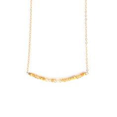 """JULIA SZENDREI CITRINE MORSE CODE NECKLACE November's Birthstone. 17.5"""" set length 14K gold filled chains. Citrine paired with gold bronze beads. Dits and Dashes represent the Morse Code of your choice. LOVE, JOY, BLESSED, FAMILY, XOXO, STRENGTH. Shop Now www.juliaszendrei.com"""