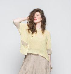 Femme Top dété pull femme manches 3/4 haut vêtements Tops Boho, Böhmisches Outfit, Summer Knitting, Loose Tops, Everyday Look, Crochet Top, Knitwear, Etsy, Pullover