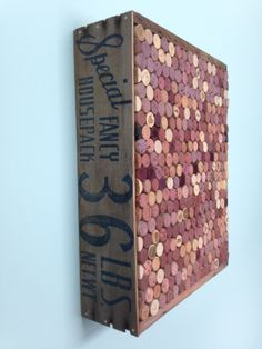 vintage fruit crate, wine cork board. Will be making this for my kitchen. :)
