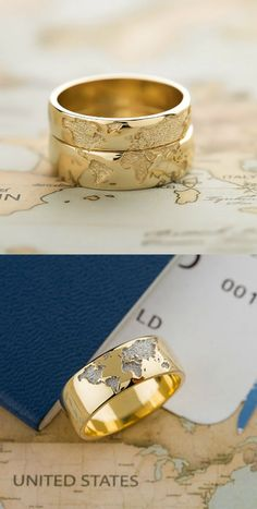 World map rings. Unique rings. Travel. Travel couple. Gold rings.  #travel #weddingrings #wedding #weddingideas #travelideas #travelcouple #aroundtheworld #map