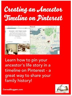 Learn how to pin your ancestor's life story in a timeline on Pinterest - a great way to share your family history! #genealogy #familyhistory