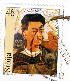 She is still in her Blue House near Mexico City. Go talk to her there? Frida Kahlo postage stamp