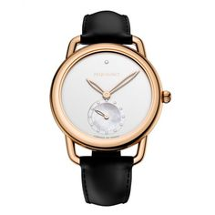 Pequignet Equus 40th Anniversary 30mm Rose PVD Silver Dial Ladies Black Leather Strap Watch