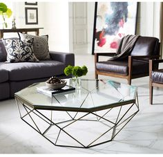 Nordic furniture creative small apartment living room iron tempered glass coffee table round transparent table modern simple-tmall.com day cat