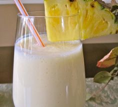 Coconut and Pineapple drink- 1 cup pineapple chunks  1 cup coconut milk  1 cup ice cubes  1/2 cup milk  3 tablespoons condensed milk or to your taste  Sliced pineapple for garnish