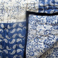 Red White And Blue Quilts For Sale Quilt Blue And White Quilt Covers Blue And White Block Printed Blue Rajastani Quilt Quilting Projects, Quilting Designs, Bath Table, Indian Fabric, Indian Textiles, Blue Bedding, Blue Bedroom, Master Bedroom, Quilts For Sale