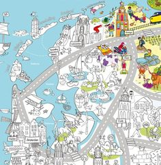 Very Mappy kleurplaat  XXL speel- & kleurplaat van Nederland. Scheur met je speelgoedauto van Leeuwarden naar Maastricht, kleur de zeehonden in de Noordzee en ontdek de 12 hoofdsteden. Het kan met de super grote speel- en kleurplaaat van Very Mappy. Deze avontuurlijke kinderplattegrond van heel Nederland biedt urenlang speelplezier voor jong én oud.