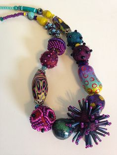 Necklace of felted beaded beads, polymer clay, and crystal. | Flickr - Photo Sharing!