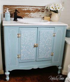 Repurposed Cabinet Bathroom Vanity via KnickofTime.net