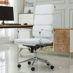 Roundhill Furniture Modica Chromel Contemporary High Back Office Chair, Gray, White