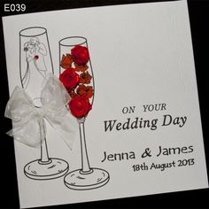Cheers. Handmade wedding card. Crafts. One of glasses filled with red roses, the other on the glass is painted young couple. Card is personalised with names and wedding date. As for the wedding is only with the card.  http://www.handmadecards24.co.uk/product/champagne_handmade_wedding