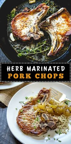 These simple, flavorful pork chops are marinated in herbs and garlic and topped with a tart apple chutney. Recipe is great when made on either the grill or stovetop.