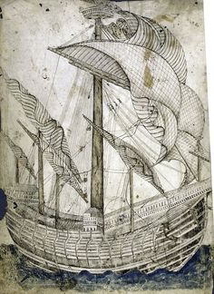 """Full page drawing of tall ship by Gregorio Dati 