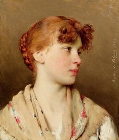 Eugene de Blaas    Portrait of a girl