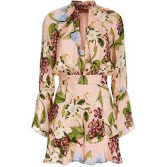 Nicholas Evie Floral Print Playsuit (€730) ❤ liked on Polyvore featuring jumpsuits, rompers, floral print romper, silk romper, floral romper, long-sleeve romper and cut out romper