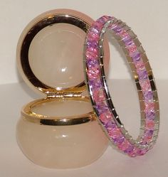Silver bangle wrapped with pink and lilac beads - pinned by pin4etsy.com