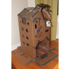Cardboard haunted house for toddlers.