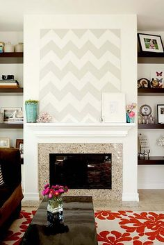 liking the colors, chunky mantle and height above the fireplace