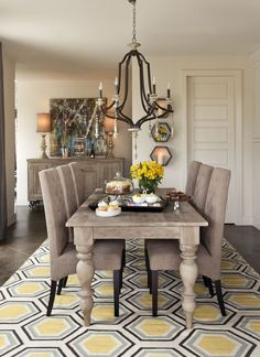 Dining Room | Yellow Hexagon Rug, Light Gray Wash Furniture, Slate Gray Linen Dining Chairs