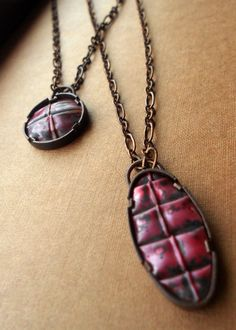 Oval Fold Formed Copper Necklace Armor Necklace Red by ErinAustin
