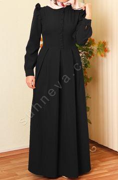 Ece Fırfırlı Elbise - Siyah