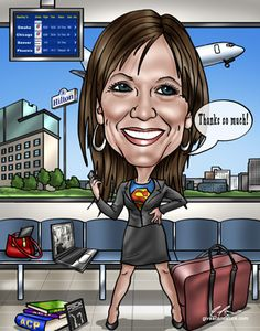Retirement gift for a business woman who was quite the traveler including some of her typical phrases.  Uniquely personal retirement gifts! Starting at $99.00 from www.GiveAcaricature.com.  #retirementgifts #retirementcaricature #retirementgiftidea