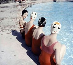 "I remember when girls weren't allowed to go swimming in public pools without a swimming cap on, even if their hair was short.  Now I can't find one to save my life. ""Crazy Caps"", swimming caps with faces is the invention of Long Island housewife Betty Geibs, manufactured now under the name Betty Darling, photo by Ralph Crane, 1959"