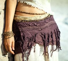 Little Pixie Frayed Skirt / Belt by PrimitiveTribalCraft on Etsy, $50.00