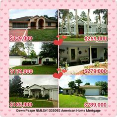 Pick your price range and fall in love with a new home! #CheckOut these homes located in #PalmCoast #Florida! Call me today for a #mortgage  pre-approval & to introduce you to the #Realtor for a #showing, 386-338-7912!  #realty #realestate #investment #re