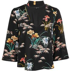 Topshop Floral Print Choker Blouse ($43) ❤ liked on Polyvore featuring tops, blouses, black, three quarter sleeve blouses, topshop tops, three quarter length sleeve tops, flower print tops and 3/4 sleeve blouse