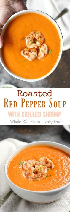 This Roasted Red Pepper Soup with Grilled Shrimp is thick, creamy, and the perfect way to warm up on cold winter days | cookingwithcurls.com #whole30recipes