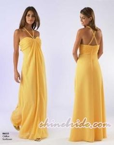 Beach Yellow Bridesmaid Dress Grecian Extra Safety Straps