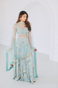 French blue cotton blend blouse skirt and dupatta set. Indian Wedding Outfits, Indian Outfits, Indian Clothes, Dress Indian Style, Indian Dresses, Indian Attire, Indian Ethnic Wear, Poppy Lane Lehenga, Simple Indian Suits