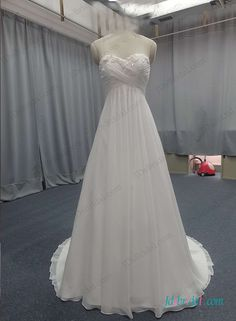 Flowy chiffon empire waist beach wedding dress