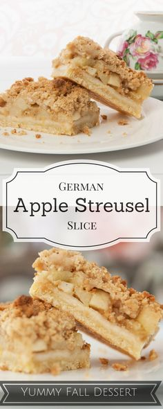 This is the first dessert I will make this fall! The perfect warming dessert - German Apple Streusel Slice! Recipe is for a large sheet cake. German Desserts, Apple Desserts, Fall Desserts, Apple Recipes, Just Desserts, Sweet Recipes, Baking Recipes, Dessert Recipes, Top Recipes