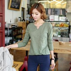 Buy 'CLICK – Long-Sleeved Split-Neck T-Shirt' with Free International Shipping at YesStyle.com. Browse and shop for thousands of Asian fashion items from South Korea and more!