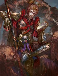 Sun Wukong - Seven Knights, Hanh Chu on ArtStation at https://www.artstation.com/artwork/m5a2d