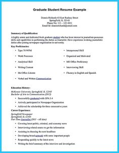 Resume Templates For Graduate Students Cool Cool Sample Of College Graduate Resume With No Experience .
