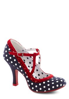 Smart and Snazzy Heel in Polka Dot | Mod Retro Vintage Heels | ModCloth.com