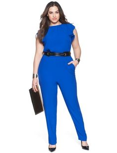 ELOQUII Plus Size Ruffle Sleeve Jumpsuit From The Plus Size Fashion Community At www.VintageAndCurvy.com